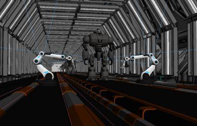 未来机器人制造生产车间,未来制造厂3D模型