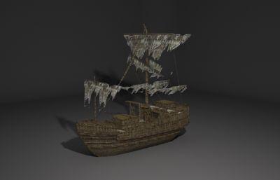 破��的古代商船,船只3D模型