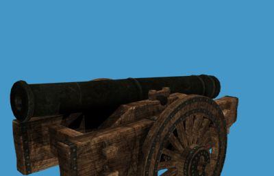 炮车,古代大炮max模型