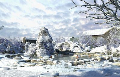 山上雪地温泉,雪景下的山间温泉(网盘下载)