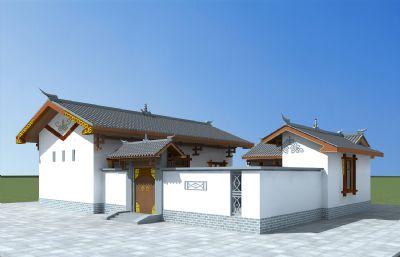 彝族四合院,中式庭院建筑max模型