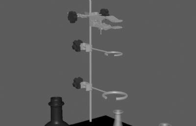 铁架台,烧杯,锥形瓶等实验用品maya模型