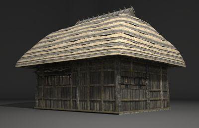 古建筑特色茅草屋3D模型