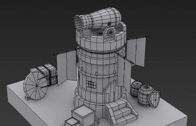 炮台游戏场景max模型