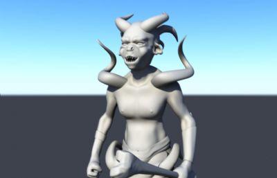 持骨�^法杖武器的怪�Fmaya模型