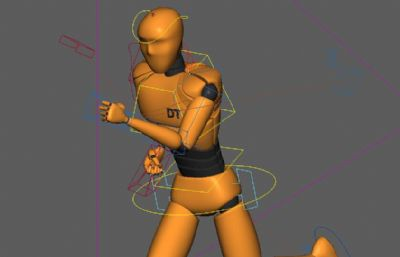 �Ы�定奔跑�赢�的�C器人人偶maya模型