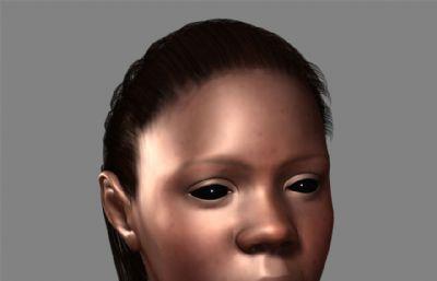 精致标准非洲黑女人头部建模maya模型
