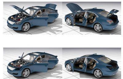 道奇精细车模,带发动机舱,驾驶舱内部结构Max2015模型,无贴图
