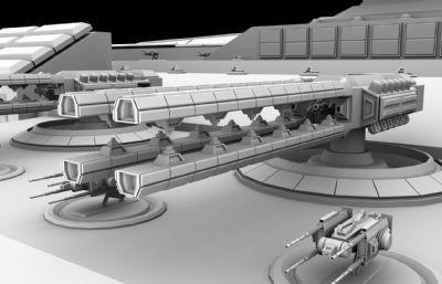 超精�太空�w船,�鹋�,�Ф喾N副武器maya模型