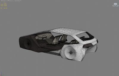 概念車,帶座位的車架max模型