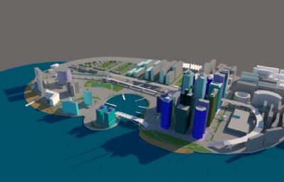 海港城,海边城市su模型