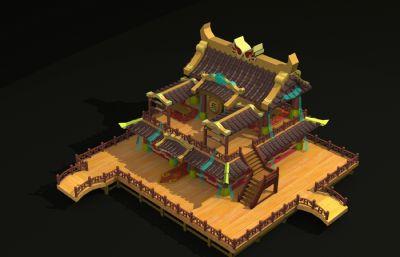 鼓楼,乐坊,三转二游戏建筑场景,无贴图
