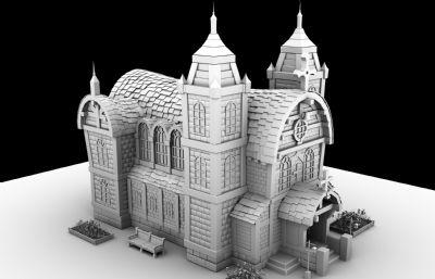 卡通房子,教堂精�白maya�鼍�,�o花���G植