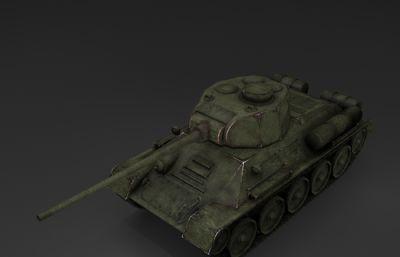 t34游戏坦克模型,战争武器max模型
