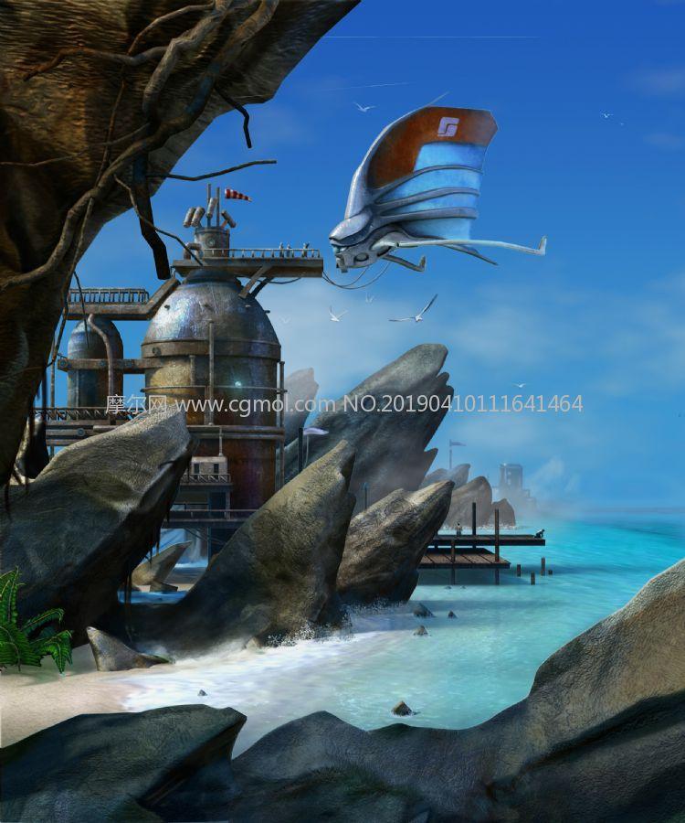 未来海边港口,海风码头场景maya模型