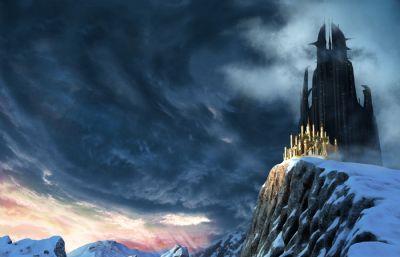 雪山城堡,雪山上的雄偉城堡Maya模型,貼圖全