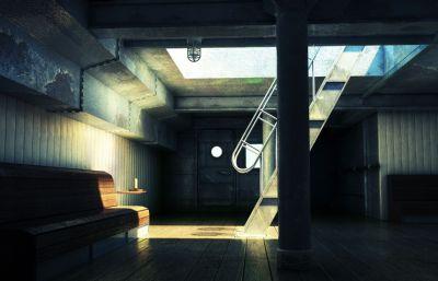 大型船只船舱,地下室场景maya模型,带贴图