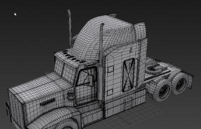 拖车卡车车头max模型