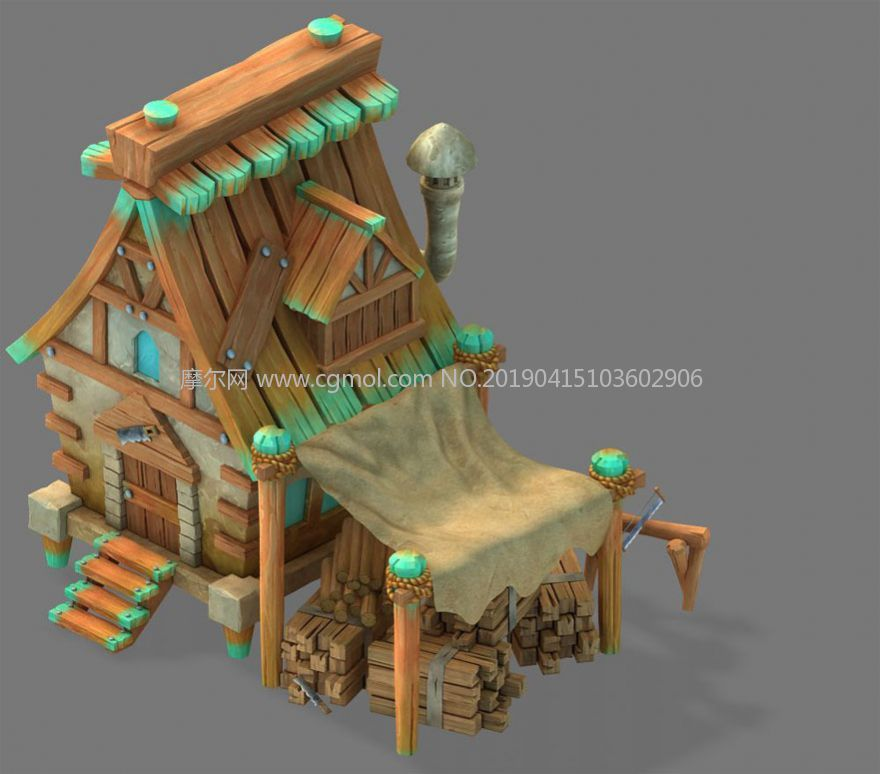 Q版木房子建筑