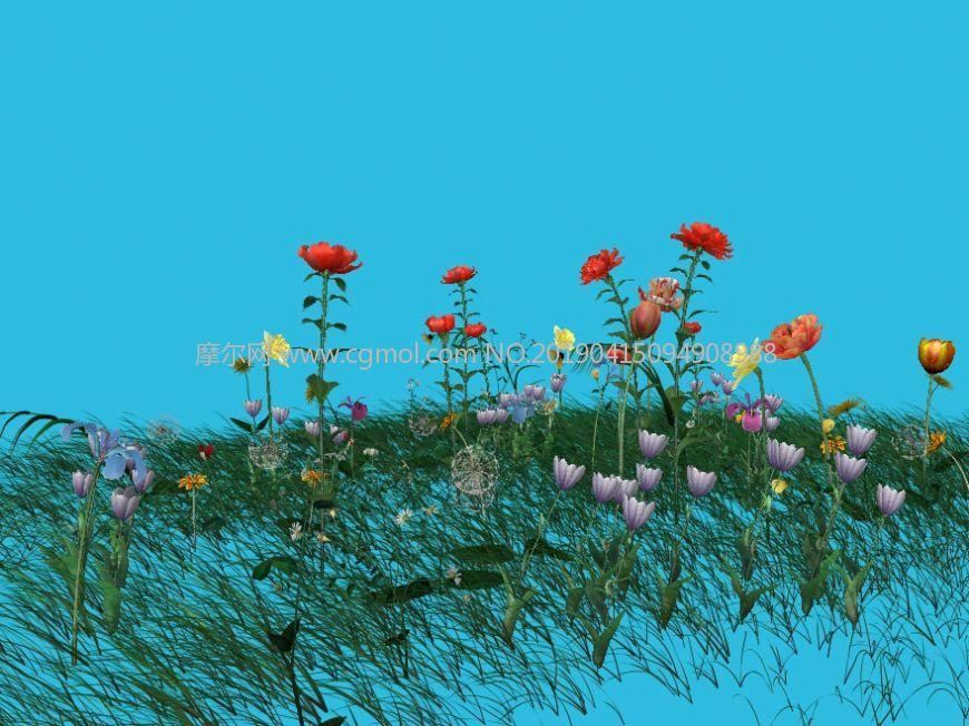 花朵草地maya模型,部分草随风飘舞