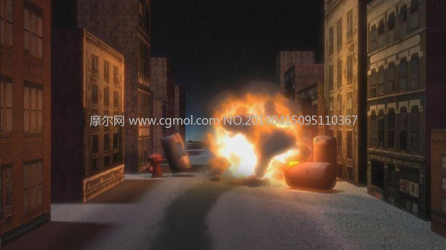 火药引燃爆炸场景特效动画maya模型