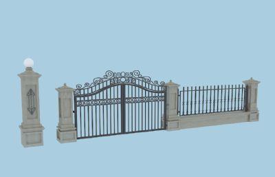 小铁门,栏杆,围栏max模型