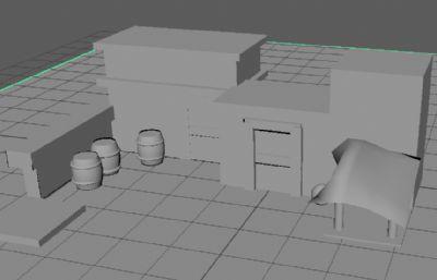 有木桶的房子,棚子