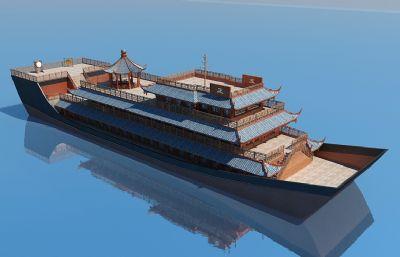 BD中式游船,仿古船