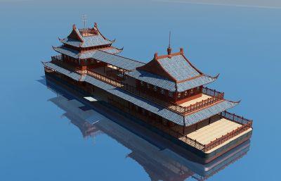 中式�O船,游船max方案,四面精致建模