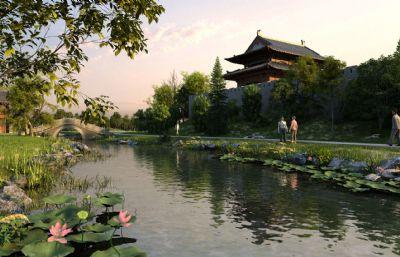 小溪荷花古桥,中式仿古公园场景(网盘下载)