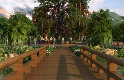 小河?#22253;?#35768;愿树,木桥互通,公园场景(网盘下载)