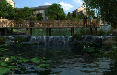 小桥荷花池公园观景区max模型(网盘下载)