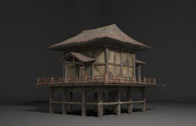 海�破��的茅草屋3D模型