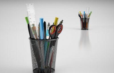笔筒里的剪刀,签字笔,尺子等文具