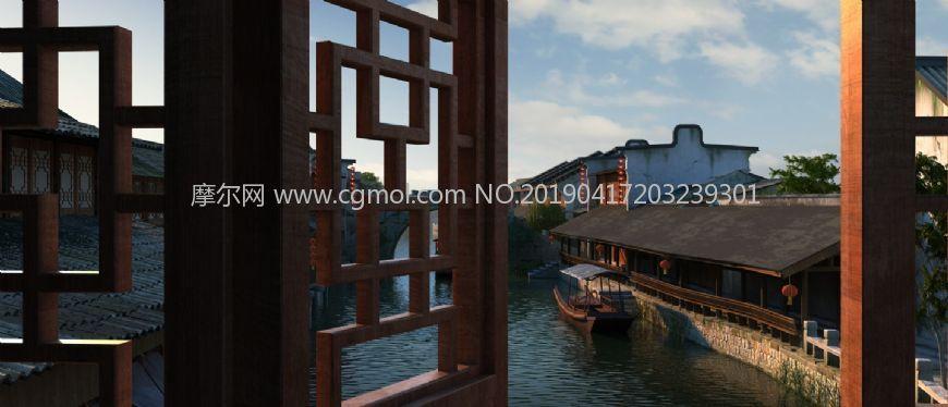 河边酒楼窗台鸟瞰古镇河道场景max模型(网盘下载)