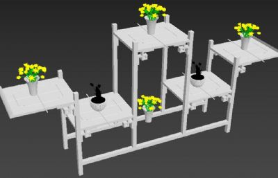 摆放盆栽的木制家具,茶几模型,无贴图