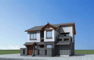 中式民居,川西�L格�e墅max模型