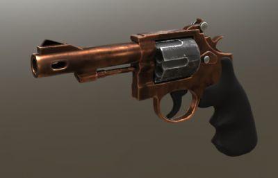 Q版转轮手枪,左轮手枪max模型