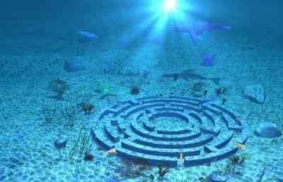 海底世界,海底迷宮,魚兒游動動畫maya場景模型
