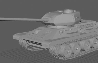 苏联T-34-85坦克maya模型