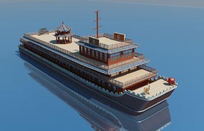中式三層涼亭觀光游船