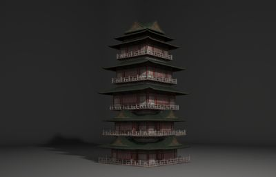 古建筑�欠�,古塔3D模型