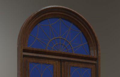 民国时期拱形玻璃大门,室内门max模型