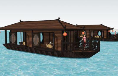 船屋游船水上餐�dsu模型