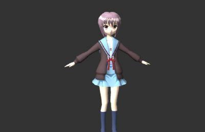 �L�T有希,��m春日的�n郁中主角maya模型