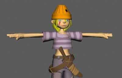 卡通小海盗,小战士maya模型