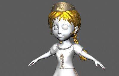 扎著小�p子的回族姑娘maya模型