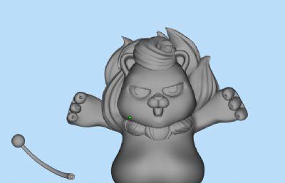 卡通小獅子OBJ模型(可直接3D打印)
