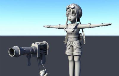火炮小熊挂饰萝莉小女孩maya模型