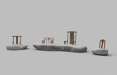 石�^�Y合�鹘y椅子的公共家具maya模型